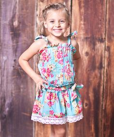 Take a look at this Blue Floral Country Fair Dress - Toddler & Girls by Jelly the Pug on #zulily today!