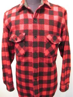 Lands End Shirt Men's Size L Red Plaid Flannel Wool Lumberjack Hunting Buffalo #LandsEnd #ButtonFront
