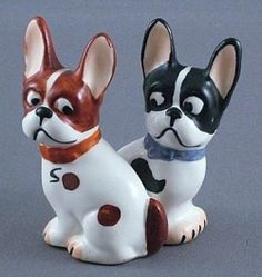 Vintage Germany Bull Terrier or Bull Dog Salt and Pepper Shaker