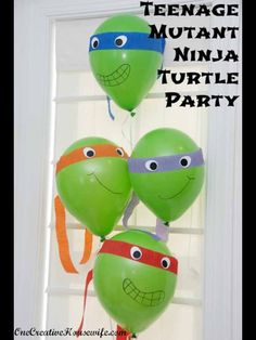 One Creative Housewife: Teenage Mutant Ninja Turtle Party {Part 1 The Decorations} Ninja Turtle Balloons Ninja Turtle Party, Ninja Turtle Balloons, Ninja Party, Ninja Turtle Birthday, Ninja Turtles, Ninja Turtle Cupcakes, Turtle Birthday Parties, Birthday Fun, Birthday Ideas