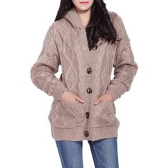 Cable Knit Hooded Cardigan - Khaki One Size Mobile