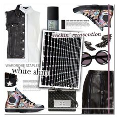 """""""White shirt style: punk rock remake."""" by sinesnsingularities ❤ liked on Polyvore featuring House of Holland, NARS Cosmetics, Converse, Moschino, Alexander Wang, Givenchy, River Island, Roberto Cavalli, Marc Jacobs and contestentry"""