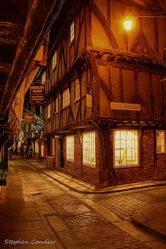 Night time view down the Shambles in York, North Yorkshire, England