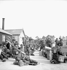 Paratroopers of the 1st Canadian Parachute Battalion in a transit camp staging area prior to D-Day, England, ca. 1-5 June 1944.