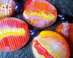jasmin french  graphics  lampwork beads set sra