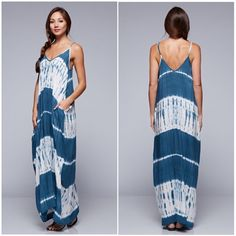 Burn Out Maxi Rayon beautiful maxi dress. Adjustable Straps & Oversized Pockets. Burn out . Tie Dye . Boho . Bohemian . Blue . Aqua . Over sized . Love Stitch Dresses