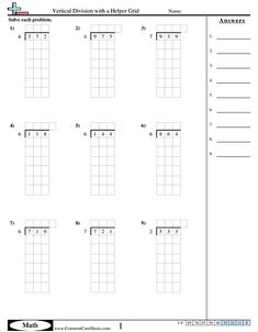 Grade Division Worksheet With Grid 8th Grade Math Worksheets, Spelling Worksheets, Free Kindergarten Worksheets, Worksheets For Kids, Division Worksheet, Long Division, Interesting Topics, Elementary Math, 5th Grades