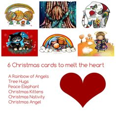 6 Christmas Cards to Delight the Heart — art by karin taylor Christmas Nativity, Christmas Angels, Christmas Cards, Karen Taylor, Christmas Kitten, Angel Art, Heart Art, First Love, Elephant