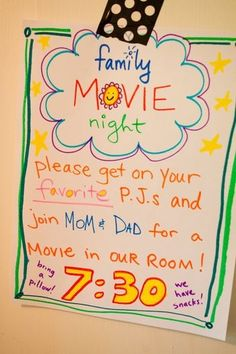 in MOMs room! Family movie night invitation for the kids. This is such a great way to make kids feel special!Family movie night invitation for the kids. This is such a great way to make kids feel special! Family Movie Night, Family Movies, Movie Night With Kids, Night Kids, E Mc2, Family Traditions, Family Activities, Summer Activities, Babysitting Activities