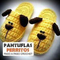 Pantuflas Perritos para Niños / Paso a paso Crochet   Patrones para Crochet