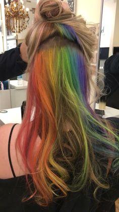 - Hidden rainbow illuminates Pravana Olaplex – # Check more at - Hidden Rainbow Hair, Color Fantasia, Underlights Hair, Coloured Hair, Hair Blog, Hair Images, Dream Hair, Crazy Hair, Cool Hair Color