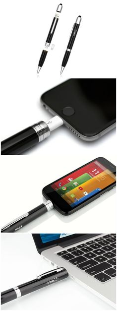 The 3-in-1 Power Pen takes an ordinary pen and packs it with a touch screen stylus and a powerbank to charge and sync your devices. Lightning and MicroUSB compatible.