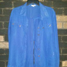 Selling this BONGO Sheer Blue Split Back Tails Button Down in my Poshmark closet! My username is: lexthebarbarian. #shopmycloset #poshmark #fashion #shopping #style #forsale #BONGO #Tops