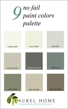 9 no fail paint colors palette - Is the painter coming tomorrow and demanding to know what colors you're using. Here's help if you're in a pinch. These are my tried-and-true go to neutrals that look wonderful just about everywhere.