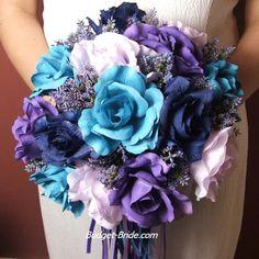 Amazing turquoise & violet wedding bouqet