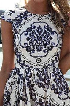 J'Adore J. Crew white and blue patterned dress cinched at the waist.