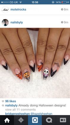 Thinking of Halloween parties and how to dress up? Find fun (and creepy) Halloween nail art ideas in this gallery to go with your Halloween costumes! Disney Halloween Nails, Holloween Nails, Halloween Acrylic Nails, Disney Nails, Halloween Designs, Holiday Nail Designs, Holiday Nails, Nail Art Designs, Fancy Nails