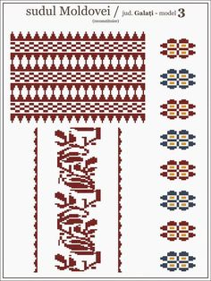 Semne Cusute: model de ie Galati - MOLDOVA Beading Patterns, Embroidery Patterns, Cross Stitch Patterns, Knitting Patterns, Simple Cross Stitch, Moldova, Hama Beads, Pixel Art, Folk Art