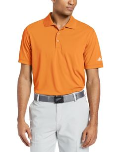 adidas Golf Mens Puremotion Solid Jersey Polo Light OrangeWhite 3X-Large