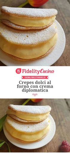 Baked sweet crepes with diplomatic cream - Dolci - Gourmet Desserts, Just Desserts, Dessert Recipes, Wine Recipes, Cooking Recipes, Crepes And Waffles, Weird Food, Food Design, Italian Recipes