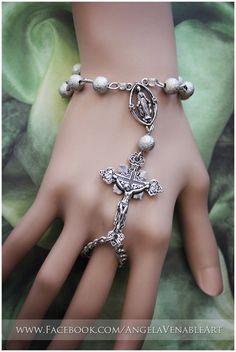Hand Chain  Rosary Bracelet by AngelaVenArtwork on Etsy