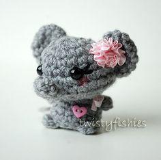 Kawaii Gray Elephant  Mini by twistyfishies  Crochet Amigurumi