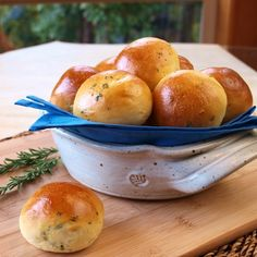 Fresh baked savory Herb Rolls with parsley, rosemary and chives.