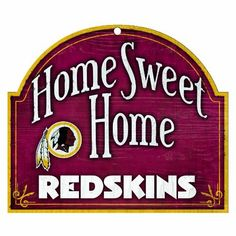 "NFL Washington Redskins 10-by-11 inch Wood ""Home Sweet Home"" Sign:Amazon:Sports  Outdoors"
