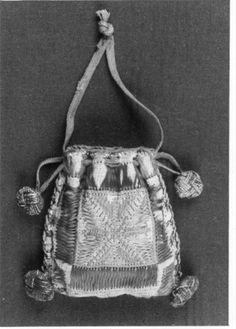BALaT KIK-IRPA Object number 43464. European embroidered relic bag, 1201-1400. Long-armed cross-stitch?