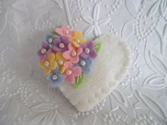 Felt Flower Brooch Pin Beaded Heart Wool Felted