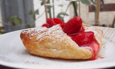 Fresh baked strawberry-cream cheese pastry Cream Cheese Pastry, Strawberries And Cream, Freshly Baked, French Toast, Strawberry, Breakfast, Ethnic Recipes, Food, Morning Coffee