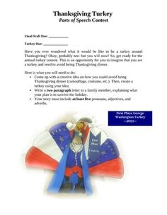 Creative Writing Activity : Thanksgiving Turkey Contest (C