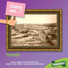 """#sabíasQue... Torreón inicio como un pequeño rancho a la orilla del Río Nazas. Se le conoció como """"El rancho del Torreón"""" En lo que antiguamente fue la """"hacienda de San Lorenzo"""" y que posteriormente fue la hacienda de Don Leonardo Zuloaga. El nombre de """"Torreón"""" se le da por una estructura (un torreón) que servía para vigilar el rancho."""