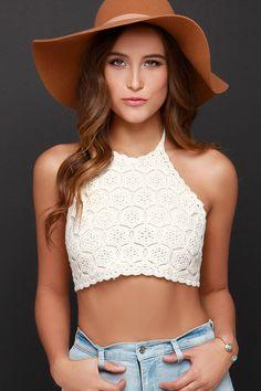 We Can't Stop Cream Crochet Halter Crop Top at Lulus.com!