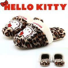 leopard pattern slippers hello kitty