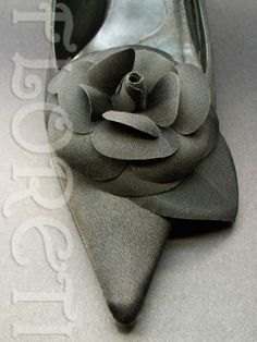 Black Camellia Bridal Shoe Clips French Flower Accessories Wedding | Floreti - Wedding on ArtFire, weddings, accessories, shoe, clip, pin, black, camellia, millinery, flower, shoe clips, small, couture, bridal, satin. $53.87