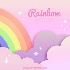Colorful rainbow on pink clouds Cute Wallpaper For Phone, Cute Girl Wallpaper, Rainbow Wallpaper, Pink Wallpaper Iphone, Pink Iphone, Cute Wallpaper Backgrounds, Rainbow Background, Cartoon Background, Pink Clouds