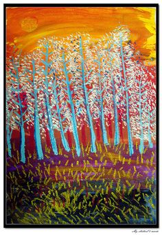 gorgeous layers of paint and oil pastel trees Great Fall Lesson