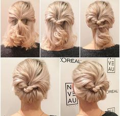 What's the Difference Between a Bun and a Chignon? - How to Do a Chignon Bun – Easy Chignon Hair Tutorial - The Trending Hairstyle Short Hair Prom Updos, Bridesmaid Hair Updo, Prom Hair Updo, Short Curly Hair Updo, Short Hair Bridesmaid Hairstyles, Bridesmaid Ideas, Simple Updo Short Hair, Diy Short Hair, Wedding Bridesmaids