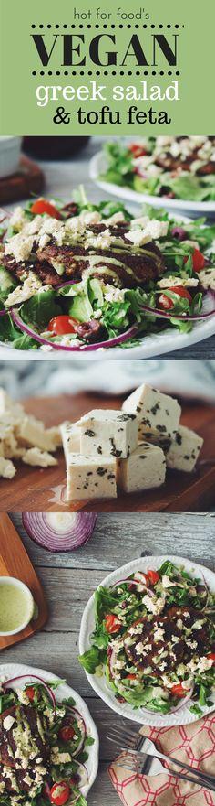 VEGAN greek salad & tofu feta   RECIPE on hotforfoodblog.com
