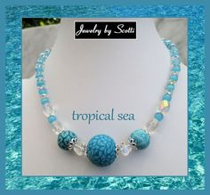 Turquoise Samunnat Bead Necklace // Crystals Catseye Beads // Chain // Tropical Sea: