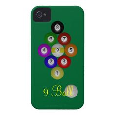 $43.15 Nine Ball Rack Case-Mate iPhone 4 Cases Billiard balls racked for a game of 9 Ball on a field of pool table green. Great design for budding pool players and sharks alike! What's your favorite game? League players, APA, UPA, BCA, or casual shooters will love these!
