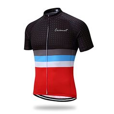 Runmaner Mens Cycling Jersey Short Sleeve Bike Clothing Large Red     Learn  more by 8e3255478