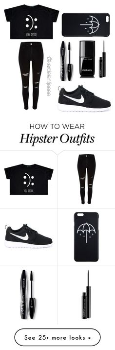 """:):"" by kardelentjeeee on Polyvore featuring River Island, NIKE, Lancôme, MAC Cosmetics and Chanel"