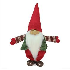 23 in. Red Green and White Santa Gnome Christmas Tabletop Decoration. Decked in red green and white this gnome is ready for Christmas. Wears a green vest a red green and white patterned sweater and red Christmas Tabletop, Christmas Gnome, Christmas Colors, Christmas Themes, Christmas Decorations, Christmas Ornaments, Holiday Decor, Father Christmas, Felt Ornaments