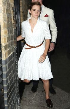 21 Street Style Stars in Little White Dresses (LWDs) - Emma Watson from InStyle.com