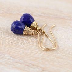 Lapis Lazuli Teardrop Earrings. Gold by EllaArtisanJewellery