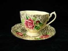 Queen Anne Bone China Tea Cup & Saucer Pink Roses with Gold Floral 3395 or 339S | eBay