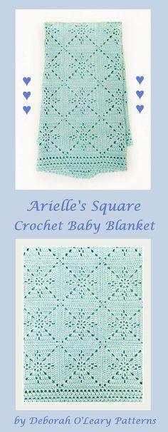 Crochet Blanket Pattern – Arielle's Square – Baby Blanket – Easy Granny Square – Crochet Throw Afghan – Pattern by Deborah O'Leary Patterns Point Granny Au Crochet, Granny Square Crochet Pattern, Crochet Squares, Crochet Blanket Patterns, Baby Blanket Crochet, Crochet Stitches, Crochet Baby, Knitting Patterns, Crochet Blankets