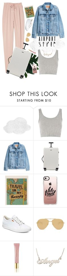 """Outfit for AirPort..✈️"" by nehirgulluyurt ❤ liked on Polyvore featuring Topshop, Rimowa, Natural Life, Casetify, ECCO, Linda Farrow, AERIN and vintage"